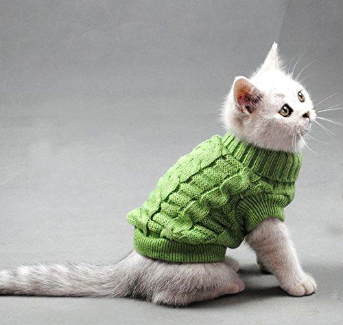 Rollkragen Pet Katzen Pullover Aran Pullover Strick Hund Kitty Kleidung Solid Colors für Kätzchen Chihuahua Mops, L, Grün -