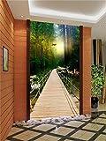 Yosot 3D Tapeten Benutzerdefinierte Wandbild Schönheit Vliestapeten Holzbrücke Waldweg Landschaften Portal Dekoration Tapeten-140Cmx100Cm