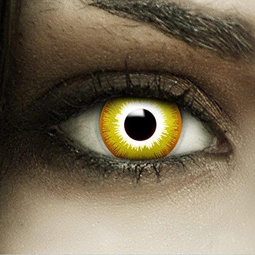 """Farbige gelbe Kontaktlinsen """"Avatar"""" + Kunstblut Kapseln + Behälter von FXCONTACTS, weich, ohne Stärke als 2er Pack - perfekt zu Halloween, Karneval, Fasching oder Fasnacht"""