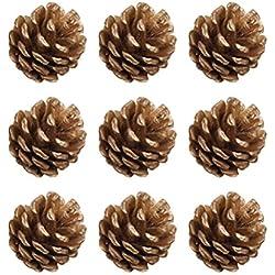ROSENICE Conos de Pino de Navidad con colgante de piña cadena decoración de árbol de Navidad artesanía ornamento de casa 9pcs(oro)