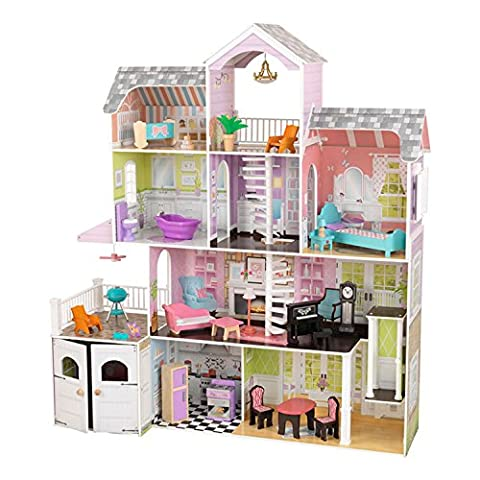 KidKraft 4-Level Spacious Wooden Grand Estate Dollhouse with 26 Pieces of Furniture (3+ Years)