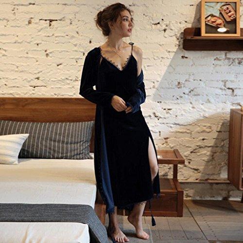 ZLR Camicia da notte da notte in pizzo e camicia da notte per la notte e l'autunno ( Colore : Blu navy , dimensioni : M ) Blu Navy