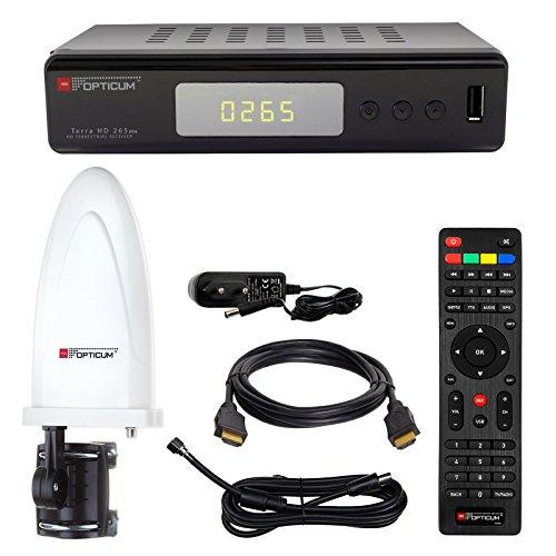 HB DIGITAL DVB-T/T2 SET: Opticum Terra HD 265 HEVC DVB-T/T2 Receiver + Opticum Optima HD750 DVB-T/T2, FM, DAB Aktive Antenne (Full HD, HEVC/H.265, HDTV, HDMI, USB 2.0 DVBT DVBT2 DVB-T2)
