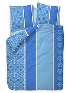 2-tlg. Seersucker Bettwäsche 135x200 oder 155x220cm +80x80cm mit Knopfleiste, bügelfrei, Microfaser, Sommer Bettwäsche / Blau