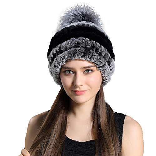 Befur Russian Real Fur Beanie Hat Striped Caps in Multicolor
