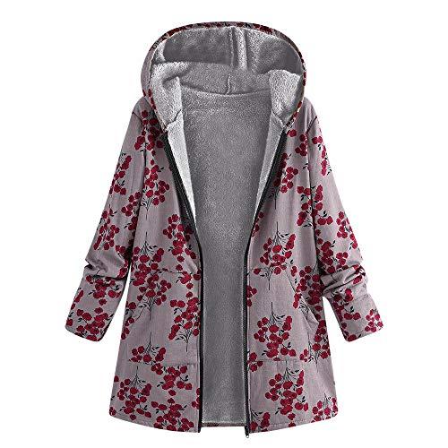 Xmiral cappotti oversize tasche con cappuccio con stampa floreale intimo invernale da donna vintage (m,2- rosso)