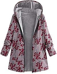 Damark Abrigos Abrigo Invierno Mujer, Chaquetas Mujer Invierno, Chaqueta Suéter Jersey Mujer Cardigan Mujer Tallas Grandes Outwear Floral Bolsillos con Capucha de Impresión Caliente Sudadera