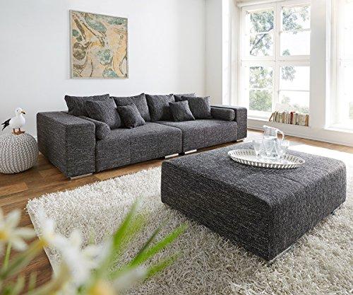XXL-Couch Marbeya Schwarz 285x115 cm inklusive Hocker Big-Sofa
