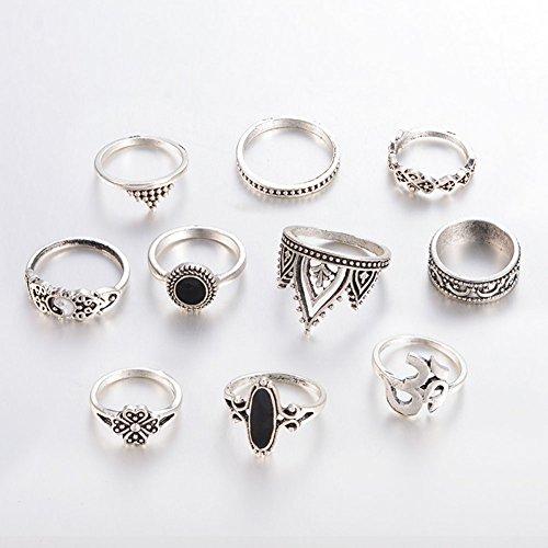 Gespout 10Pz Feinile di Anello Anello Acciaio Inossidabile Stile Vintage Set di Anelli Gea Nera Corona Imperiale Accessori Decorativi di Moda