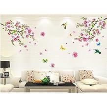 ourbest rosa árbol de flor de cerezo adhesivo decorativo para pared con mariposas