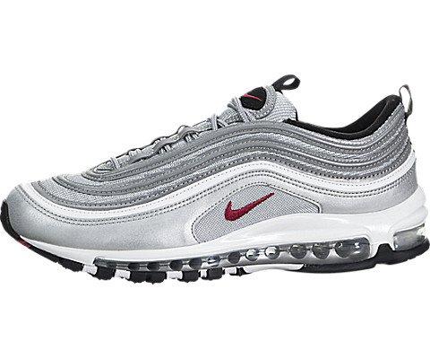 Nike Womens Air Max 97 OG QS 'Silver Bullet La Silver' - Metallic Silver/Vrsty Rd Trainer, Silver, 36.5