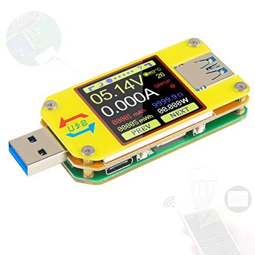 UM34C USB Tester Meter Voltmeter USB Multimeter Spannung Strom USB Spannungsprüfer Bluetooth-Amperemeter-Multimeter 1,44-Zoll-Farb-LCD-Display USB 3.0 Typ - C Kabelwiderstand Impedanz meter laden