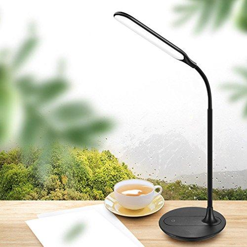 Dgeg lampada da tavolo wireless led touch switch cura degli occhi desk student typhoon plug dual-use (colore : nero)