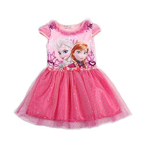 MiXiaoJie Mädchen Kleid Prinzessin Kleid Partykleid Blumenmädchen Pailletten glänzend Kleider Kostüme (6 T, (Sechs Rot Kleid Kostüm)