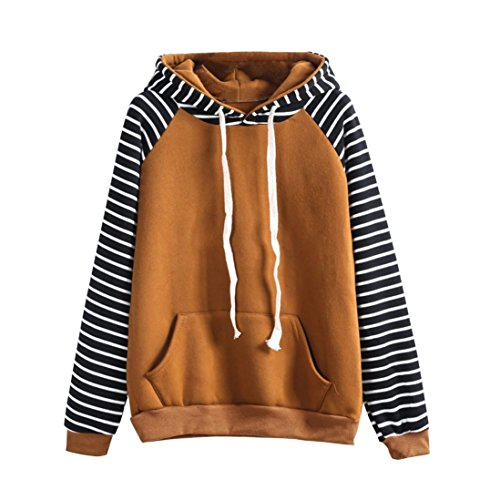Damen Outwear, FEITONG Gestreift Kapuzenpullover Lange Ärmel Beiläufiger Druck Sweatshirt Tops (S, Gelb) (Knöpfe Ärmel Anzug)