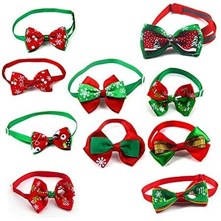 serliy 10 pc Weihnachten Haustier Hund Katze Bowties Krawatten Urlaub einstellbar Fliege Kragen Groomings