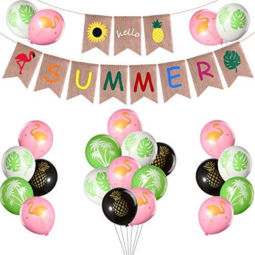 Sackleinen Banner, 16 Stück Hawaii Party Luftballons mit Flamingo Ananas Tropical Leaf Sonnenblume für Pool Party, Barbecue Party, Hawaii Party und rustikale Sommerdekorationen ()
