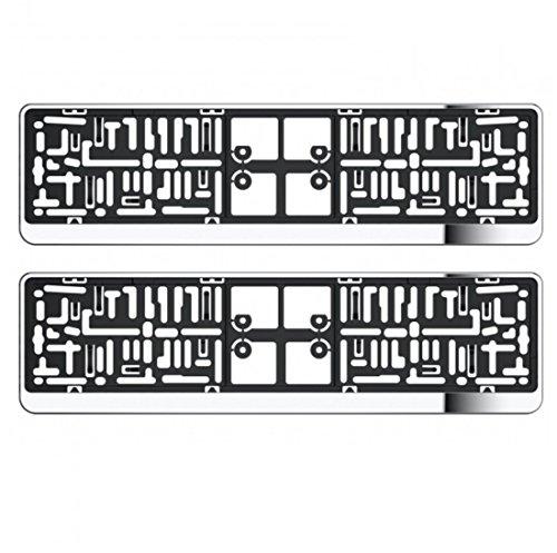 Nuovo Wheels N Bits 2x universale ABS argento cromato a specchio auto numero targa porta circonda cornici