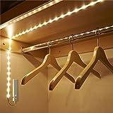 ZhongYe Schrankbeleuchtung LED mit Bewegungssensor Batterie benötigt Warmweiß Lichterkette 1M Vitrinenbeleuchtung