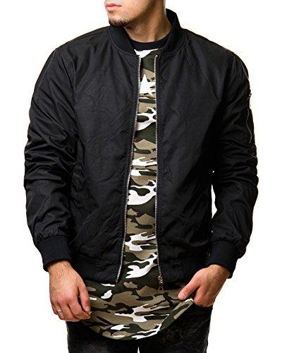 EightyFive Herren Jacke Übergangs Bomber Zipper Schwarz Khaki Camouflage EFS150, Größe:L, Farbe:Schwarz