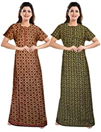 Jatin fashion CottonFancy Cotton Nighty Full Length | Night Wear| Sleep Wear For Women |Night Gown For Women (Multicolor, Free Size)