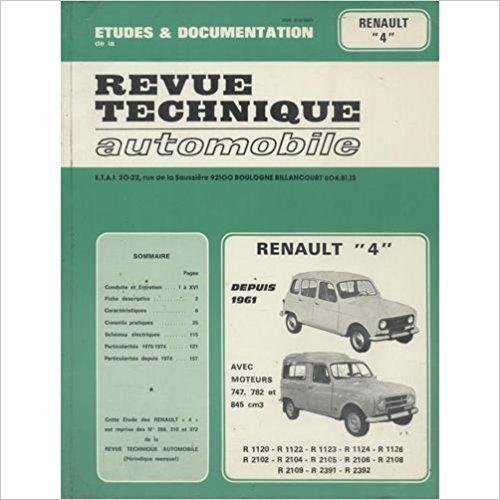 Descargar Libro Revue Technique Automobile Renault 4 depuis 1961 moteurs 747,782 et 845 cc de Unknown