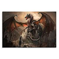 120 x 80 cm Canvas Knight Dragon Battle Dark Fantasy Wall Canvas Picture Panorama