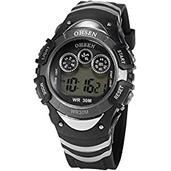 OHSEN Mens Black Date Alarm 7 Modes Backlights Multifunction Sport Rubber Watch