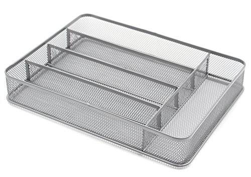 ESYLIFE Kitchen Drawer Silverware Tray Organizer, 5 Compartments - Silver