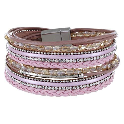 StarAppeal Armband Wickelarmband mit Perlen, Strass, Ketten und Flechtelement , Magnetverschluss Silber Matt, Damen Armband (Rosa) Rosa Armband