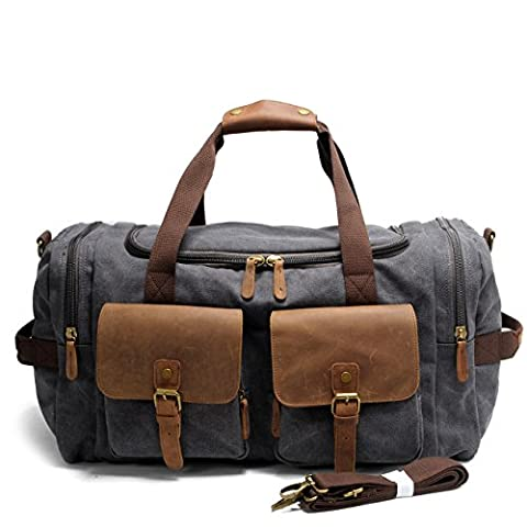 Y-DOUBLE (57cm*30cm*23cm)Oversized Travel Duffel Canvas Leather Trim Tote shoulder handbag Weekend Bag (Grey)