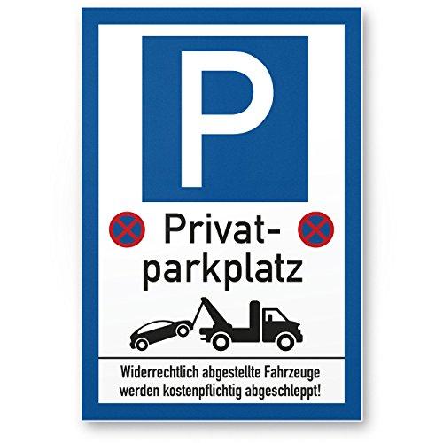 Privatparkplatz - Parkverbot (weiß-blau, 20 x 30 cm), Hinweisschild, Verbotsschild, Parkplatzschild Privat Parkplatz - Warnung Autos/Fahrzeuge, Warnschild - Parkplatz Freihalten