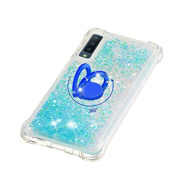 FAWUMAN Liquid Sparkly Quicksand TPU Gel Silicone Shockproof Phone Cover[Diamond Ring] Cases for Samsung Galaxy A7 (2018) / A750 (Silver light blue stars) FAWUMAN 1.Compatible Model: Samsung Galaxy A7 (2018) / A750, glitter liquid case specially for teenage, girls and women. 2.3D Quicksand creative cover, make your mobile phone Shiny Luxury Sparkle Glitter around.the inside quicksand flowing freely, make your mobile phone special and gorgeous, bring more fun to you. 3.Made of hight quality TPU: Scratch resistant and shock absorbent soft TPU covers all four corners offering all around shock absorbent drop protection keeping phone safe from dents, scratches, and other daily wear. 5