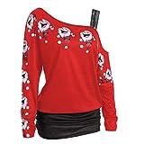 Lässige Charming Tops, Hansee Frauen Mode Langarm Frohe Weihnachten Lachen Weihnachtsmann Print Bluse Kalte Schulter Lange T-Shirt (L, Rot)