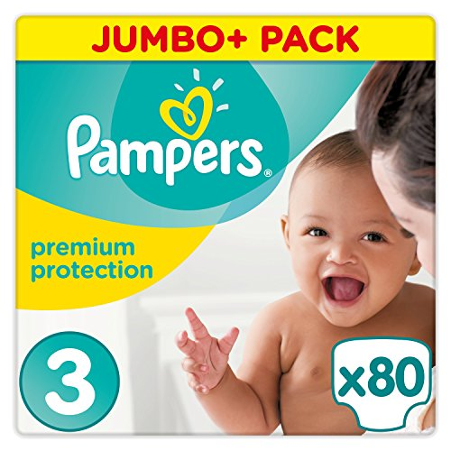 Pampers - Premium Protection - Couches Taille 3 (6-10 kg) - Jumbo+ Pack (x80 couches)