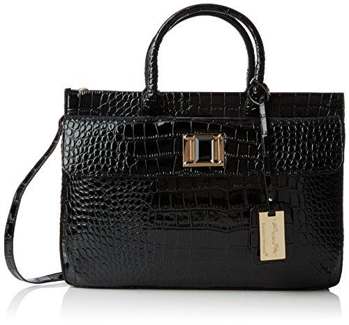 SwankySwansSwankyswans Croc Patent Leather - Sacchetto donna Nero (Nero)