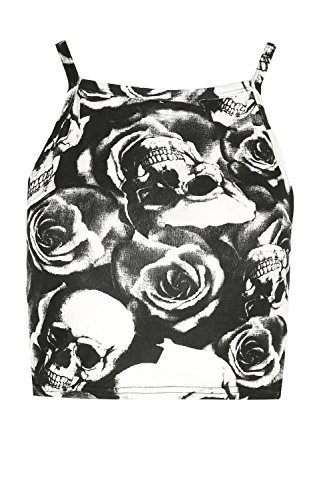 Be Jealous Damen Bodycon Damen V Ausschnitt Gewickelt Cross Over Seitlich Gerüschte Dehnbar Geraffte Minikleid Plus Größe EU 8-26 Totenkopf Rose Schwarz