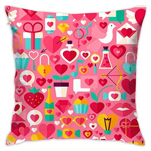 FPDecor Funda de Almohada, Square Cushion Covers Valentine's Day Lock Key Cupid Arrow Pink Throw Pillow...