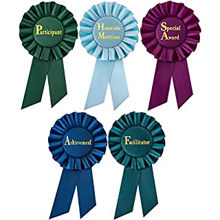 Clinch Star Rosette Award Ribbons Multipurpose - Participant - Honorable Mention - Facilitator - Set for Ceremonies and Events 6 Inch