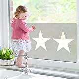 Fensterbild Große weiße Sterne auf grauKinderSterneGrauWeißDesignGeometrische Formen Fenstersticker Fensterfolie Fensteraufkleber Fenstertattoo Glas-Sticker Fensterdeko Fensterdekoration Größe: 72cm x 140cm