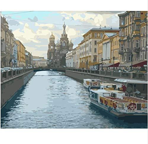 CNLSZM Malen nach Zahlen Kunst Leinwand Gemälde für Wohnzimmer Wand Saint Petersburg Lake City Landschaft-40x50cm ohne gerahmt