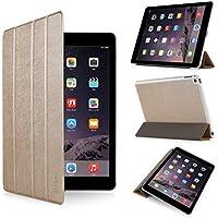 iHarbort® iPad Air 2 Hülle - Premium PU Leder Tasche Hülle Etui Schutzhülle Ständer Smart Cover für iPad Air 2, mit Schlaf / Wach-up-Funktion (iPad Air 2, Gold II)
