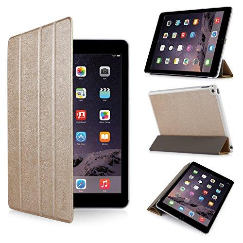 iHarbort® iPad Air 2 Hülle - Premium PU Leder Tasche Hülle Etui Schutzhülle Ständer Smart Cover für iPad Air 2, mit Schlaf / Wach-up-Funktion (iPad Air 2, Gold II) Schweißer Kamera