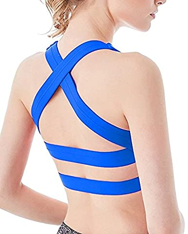 YIANNA Womens WorkOut Light Support Strappy Padded Bras Running Yoga Sports Bra CrossBack Soft Wireless Tank Top with Removable Cups,YA-BRA143-Blue-XL