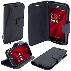 Moozy dual color Fancy Diary Book Wallet Case Flip cover with stand / wrist strap / Silicone phone holder for Asus Zenfone 2 (5.0) ZE500CL