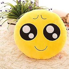 Triad basics Plush Puppy Eyes Emoji Cushion Pillow Soft Toy, 35cm (Puppy Eyes, yellow)