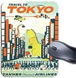 Poster di viaggio vintage Tokyo del mouse. Tanner compagnie aeree Monster turismo mouse pad