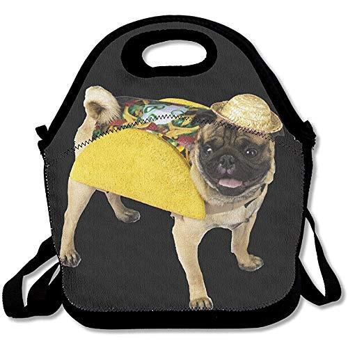 Gourmet-Tasche Mops Hund Taco Kostüm-Funny Deluxe Lunch Bag (Einfache Kostüm Für Lehrer)
