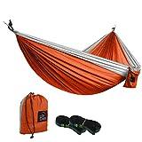 UPSKR Double Portable Camping-Hängematte, Unterstützung für bis zu 700LBS für Hinterhof, Innen- und Außenbereich, Reisen, Hängemattenriemen und Stahlkarabiner inklusive (Orange)