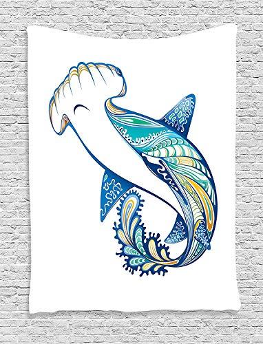Muccum Abstract Home Decor Tapestry Wall Hanging Hammer Head Shark Ornate Underwater Sea Ocean Life Animals Marine Theme Image Bedroom Living Room Dorm Decor Blue Aqua White (Aqua Room Decor)